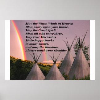 Portfolio or Small Cherokee Blessing Prayer Poster