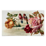Portfolio Vintage Bird Roses Poster