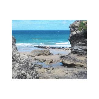 Porth Beach Newquay Cornwall Photograph Canvas Print