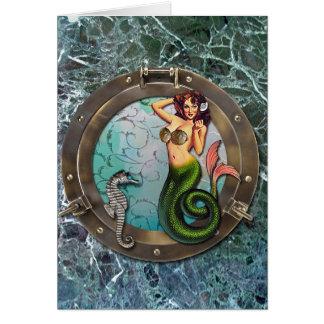 PORTHOLE  MERMAID, original art mermaid Card
