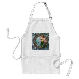 PORTHOLE  MERMAID, original art mermaids Adult Apron