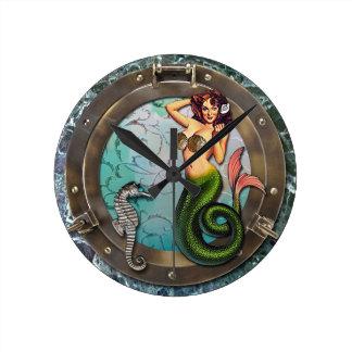 PORTHOLE  MERMAID, original art mermaids Round Wall Clock