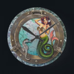 """PORTHOLE  MERMAID, original art mermaids Round Clock<br><div class=""""desc"""">I do hope you will enjoy this image as much as I enjoyed creating it especially for you I have always been fascinated by historical fashion, gypsies, fortune tellers, cowgirls and mermaids. A great portion of my artwork is devoted to one of those themes This image was recently created and...</div>"""