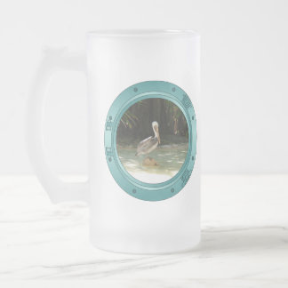 Porthole Pelican Frosted Glass Beer Mug