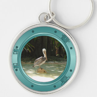 Porthole Pelican Silver-Colored Round Keychain