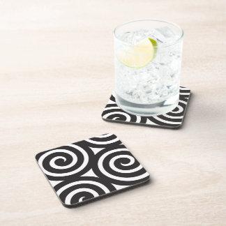 Porthole spiral Glasses Black and white Drink Coaster