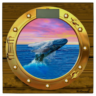 Porthole View of a Breaching Whale Bathroom Scale
