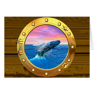 Porthole View of a Breaching Whale Card