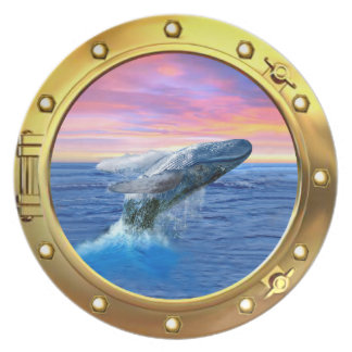 Porthole View of a Breaching Whale Melamine Plate
