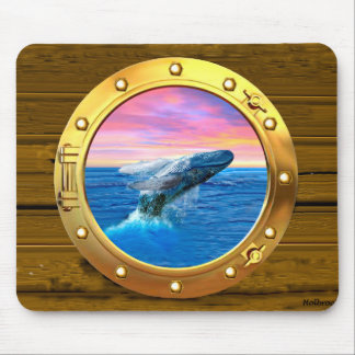 Porthole View of a Breaching Whale Mouse Pad