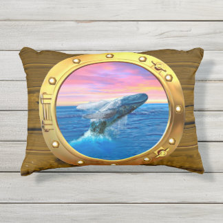 Porthole View of a Breaching Whale Outdoor Pillow
