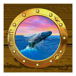 Porthole View of a Breaching Whale Poster