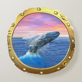 Porthole View of a Breaching Whale Round Pillow