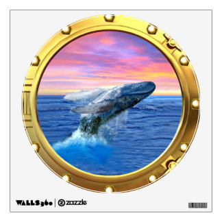Porthole View of a Breaching Whale Wall Decal