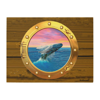 Porthole View of a Breaching Whale Wood Wall Decor