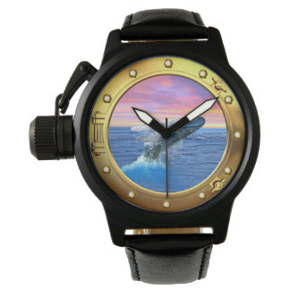 Porthole View of a Breaching Whale Wrist Watch