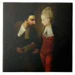"""Portia y Shylock """"del comerciante de Venecia"""" A Teja Ceramica"""