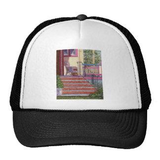 Pórtico con la cesta gorras