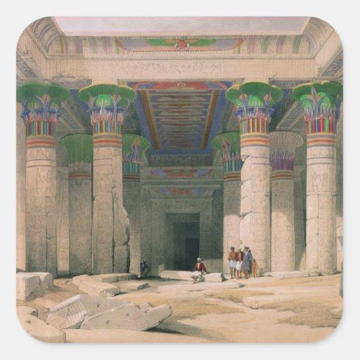 Pórtico magnífico del templo de Philae, Nubia Pegatina Cuadrada