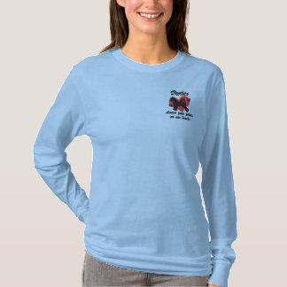 Porties Leave Paw Prints Embroidered Long Sleeve T-Shirt