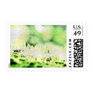 Portilla del color de la hierba verde sellos postales