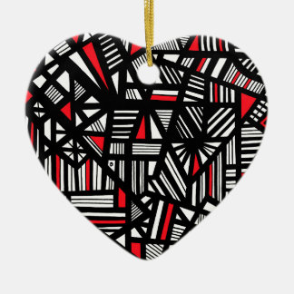 Portis Abstract Expression Red White Black Ceramic Ornament