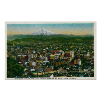 Portland and Mt. Hood in the distance Poster