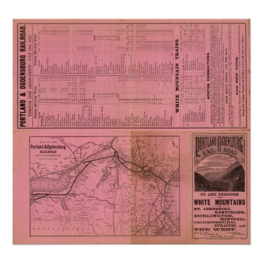 Portland and Ogdensburg Railroad and connections Poster