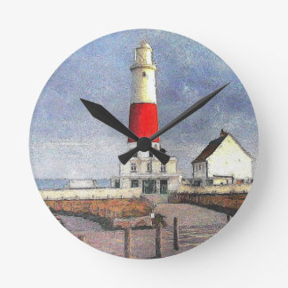 Portland Bill Lighthouse Round Clock
