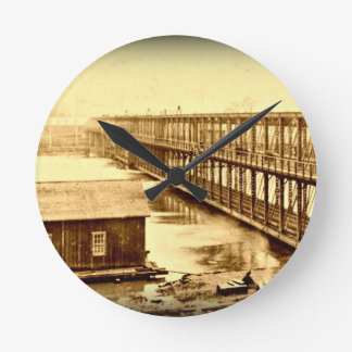 Portland Bridge Antique 1890 Round Wall Clocks
