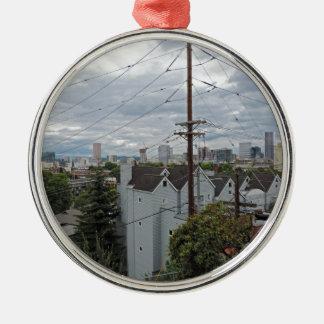 Portland céntrica Oregon Adorno Navideño Redondo De Metal