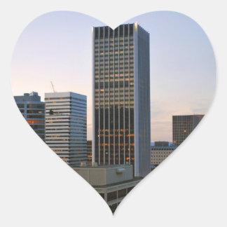 Portland City Skyline at Dusk Heart Sticker