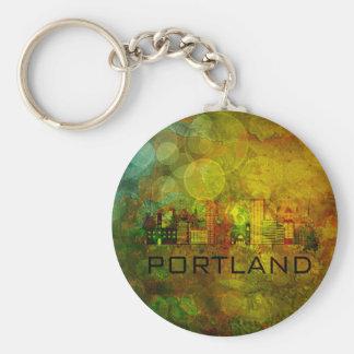 Portland City Skyline on Grunge Background Illustr Keychain