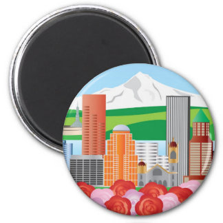 Portland Cityscape Illustration with Mount Hood Ma 2 Inch Round Magnet