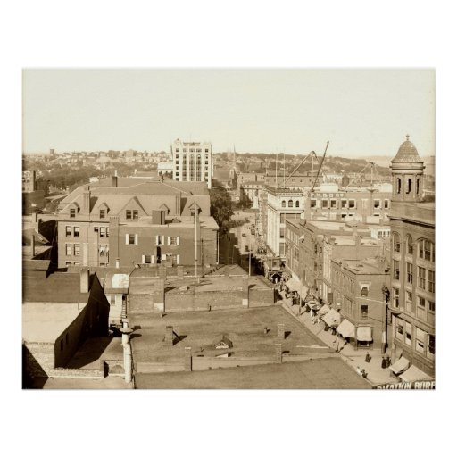 Portland Downtown from Congress Sq Hotel ca1910 Poster