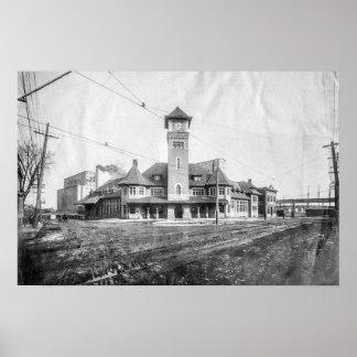 Portland Grand Trunk Depot BW Poster