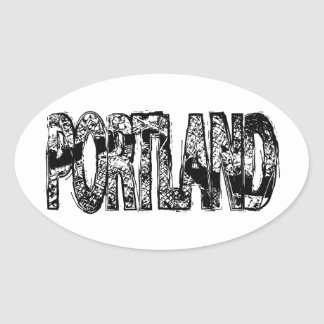 Portland Grunge Map Oval Stickers