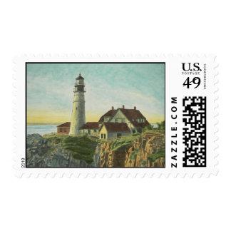 Portland Head Light at Sunrise Postage Stamp