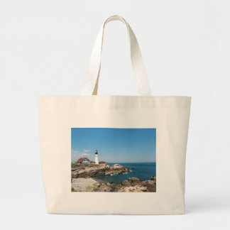 Portland Head Light ovelooking Casco Bay Large Tote Bag