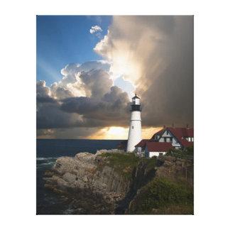 Portland Head Light, Sun through Clouds Canvas Print
