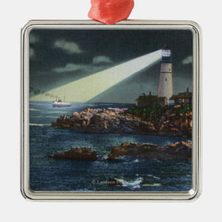 Portland Head Lighthouse at Night Metal Ornament