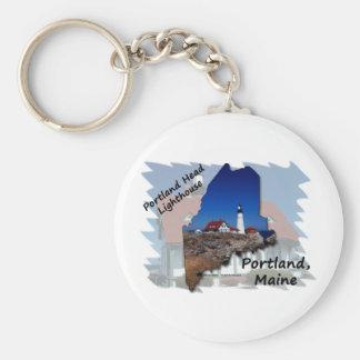 Portland Head Lighthouse Maine Silhouette Basic Round Button Keychain