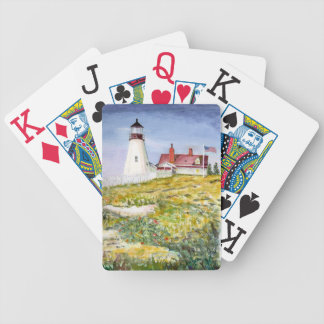 Portland Head Lighthouse Maine Watercolor Painting Bicycle Playing Cards