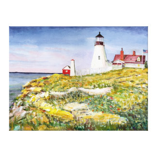 Portland Head Lighthouse Maine Watercolor Painting Canvas Print