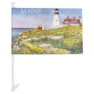 Portland Head Lighthouse Maine Watercolor Painting Car Flag