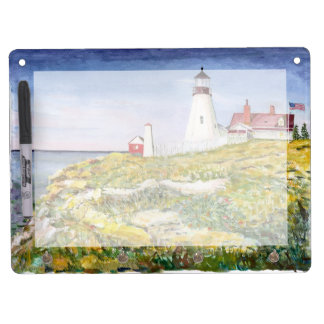 Portland Head Lighthouse Maine Watercolor Painting Dry Erase Board With Keychain Holder