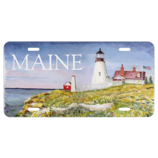 Portland Head Lighthouse Maine Watercolor Painting License Plate