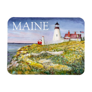Portland Head Lighthouse Maine Watercolor Painting Magnet