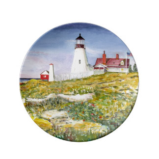 Portland Head Lighthouse Maine Watercolor Painting Porcelain Plate