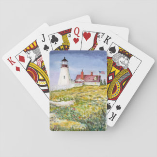 Portland Head Lighthouse Maine Watercolor Painting Playing Cards